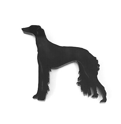Saluki Dog Brooch Badge Pin Scarf Fastener in Black