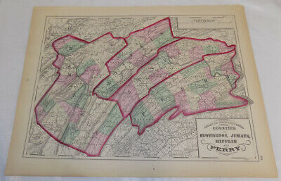 1872 Antique COLOR Map///COUNTIES OF HUNTINGDON, JUNIATA, MIFFLIN, PERRY, PA
