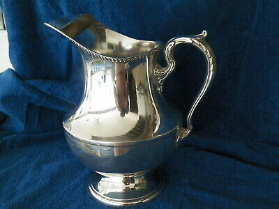 Poole #1027 Footed Sterling Silver Georgian Water Pitcher W Ice Guard