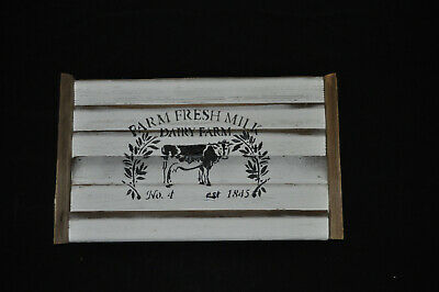 painted dairy cow white and recycled wood handmade decorative tray