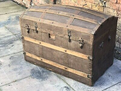 Antique Domed Top Trunk Treasure Chest Shape