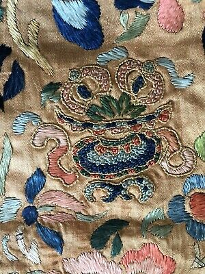 Antique Chinese Silk Embroidery Textile Panel As Is Forbidden Stitch