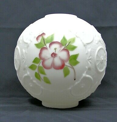 "10"" Floral Wagon Wheel Banquet Parlor Ball Lamp Shade Globe 4"" Fitter GWTW Vtg"