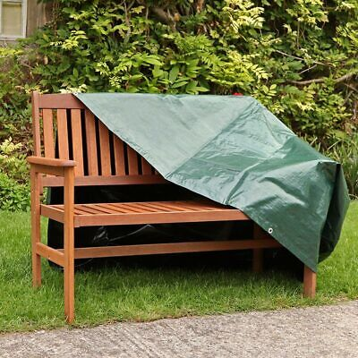 3 SEATER GREEN GARDEN BENCH COVER WEATHERPROOF FURNITURE H89 x W160 x D66cm WIDO