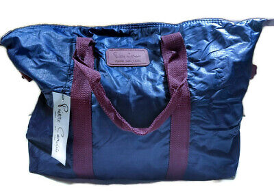 c42e6dffbc160e NWT Vintage Pierre Cardin Navy Blue Duffle Travel Gym Bag Burgundy Straps