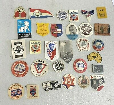 36 Various Appeal Day Badge Pins South Australia Includes WW2
