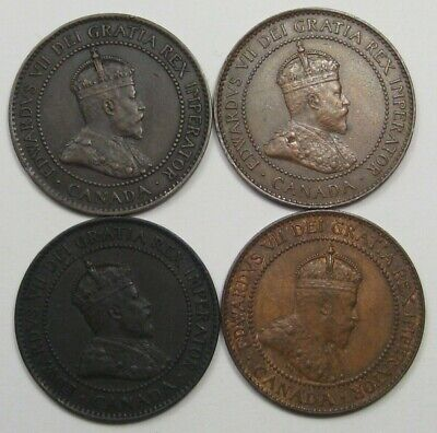 4 XF EDWARD VII Canadian Large Cent. -Full Crown- 1903, 1907, 1904, 1910. #16