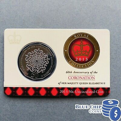 2013 RAM UNC 50c ROYAL 60th ANNIVERSARY OF THE CORONATION COIN ON CARD