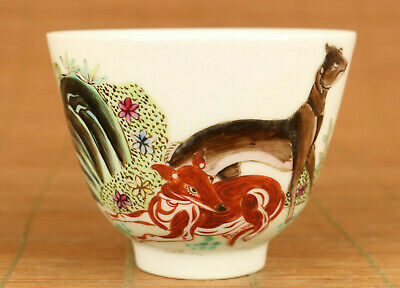 chinese old porcelain hand painting dog fox statue figure tea cup bowl gift