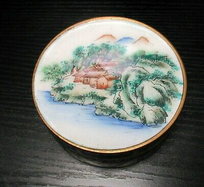 Rare Short Chinese Cloisonne Canton Enamel Landscape Humidor Jar Canister Box