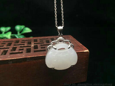 22mm China Natural HeTian White jade Hand carving lock Pendant Necklace DDE
