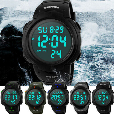 SKMEI Men's Fashion Military Tactical Digital 50M WR Outdoor Sports Quartz Watch