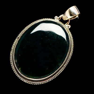 """Green Moss Agate 925 Sterling Silver Pendant 1 3/4"""" Ana Co Jewelry P692228F"""