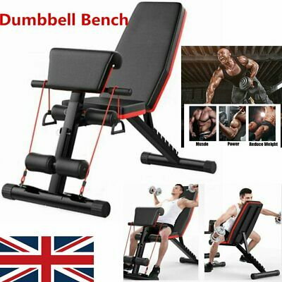 Brand New Adjustable Dumbbell Weight Bench Flat/Incline/Decline Gym -UK