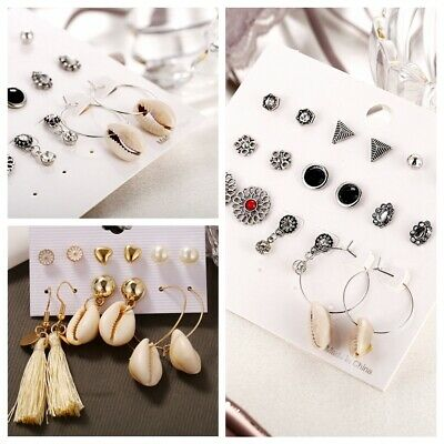 Assorted Boho Flower Stud Earrings Set Sea Shell Flower CZ Crystal Pearl Tassel