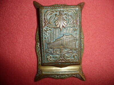 Vintage Small Ornate Cast Solid Brass,NOTEBOOK COVER&PEN HOLDER,Greek PARTHENON.
