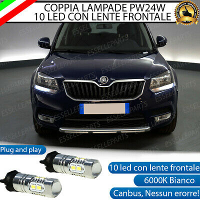 Coppia Luci Diurne Drl 10 Led Pw24W Canbus Skoda Yeti Restyling 6000K No Error