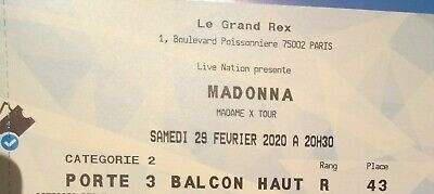 Madonna Madame X tour ticket Concert Paris samedi / saturday 29 février 2020