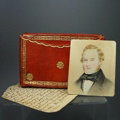 19th Century Red Leather Case & Portrait Miniature Family East India Company