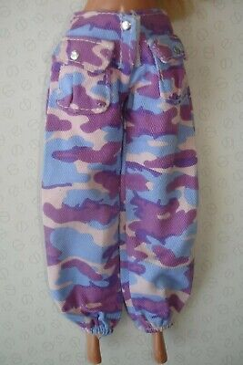 Vintage Barbie Doll Clothes Blue Lilac Pink Camo Camouflage Print Cargo Trousers