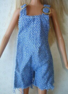 Vintage Barbie & Sindy Doll Clothes - Blue Denim Look Dungarees Shorts