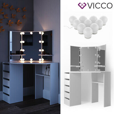 Vicco Coiffeuse d'angle Arielle table de maquillage coiffeuse LED blanc