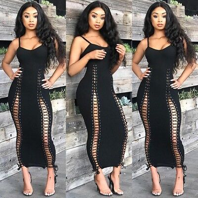 Sexy Women Solid Color Backless Sleeveless Bodycon Bandage Long Party Dress L2S