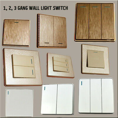 Wall Light Switch 1,2,3, Gang  Plastic  Brushed Gold/Textured Cream/White/Black
