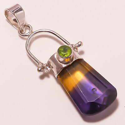 A+++Quality ! Faceted Ametrine Quartz Silver Plated Handmade Jewelry Pendant 2""