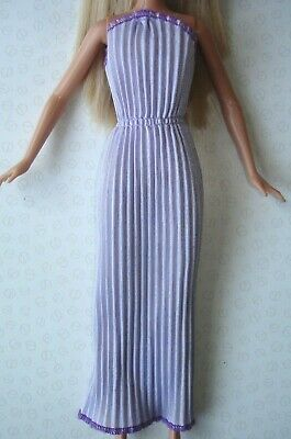 Vintage Barbie Doll Clothes - Lilac Colour Pleated Grecian Style Maxi Dress