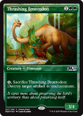 Magic: the Gathering MTG CORE 2020 THRASHING BRONTODON FNM PROMO PACK IN HAND