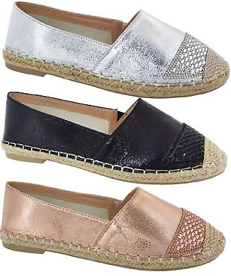 Womens Ladies Flat Summer Pumps Espadrilles Slip On Comfy Sandals Shoes Size 3-8
