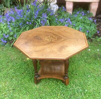Antique Victorian Rosewood Inlaid Octagonal Occasional Table
