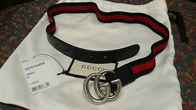 16a841f7a NWT NEW GUCCI kids girls boys blue red web stripe green star belt ...