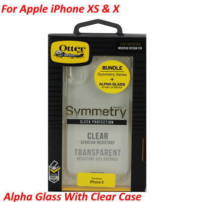 OEM Otterbox Alpha Tempered Glass & Symmetry Clear Case For iPhone XS / X - New