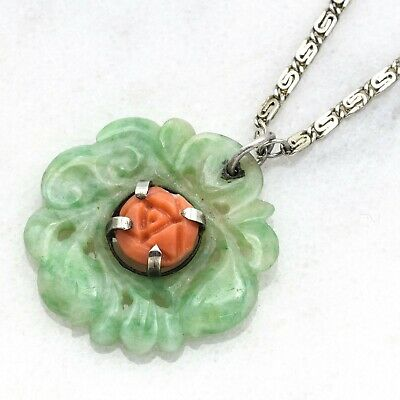 Antique Sterling Silver Carved Green Jade & Red Coral Necklace 7.4 Grams