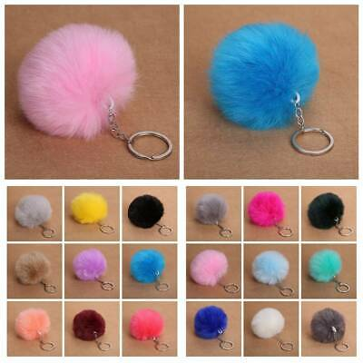 Women Fashion Pompon Handbag Rabbit Fur Round Ball Pendant Car Key Chains Rings