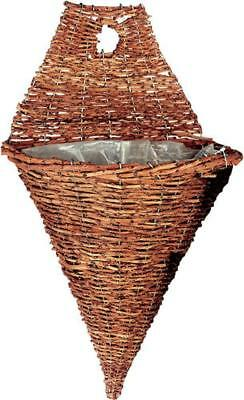 G2159: Wall Light, Pointed Ampel from Wicker, Plant Basket, Hanging Flower Pot