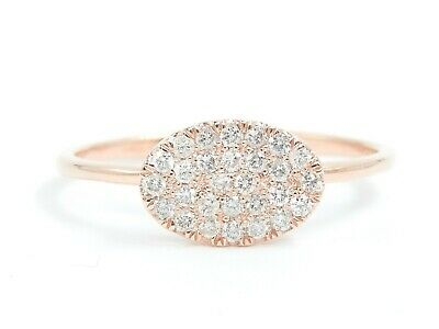 EFFECT 2CT 14K Solid Rose Gold Natural White Diamond Cluster Pave Ellipse Ring
