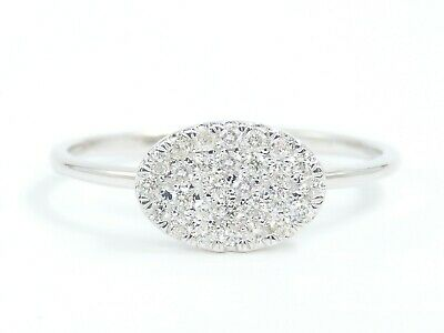 EFFECT 1CT 14K White Gold Natural White Diamond Cluster Round Pave Ellipse Ring