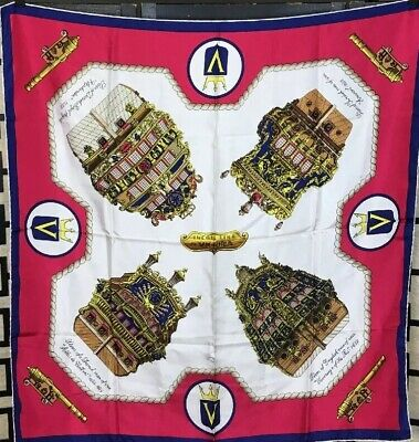 VTG INCRES VICTORIA LINE SHIPS SILK SCARF 1958-75 Womans Collectible Scarf 36x34