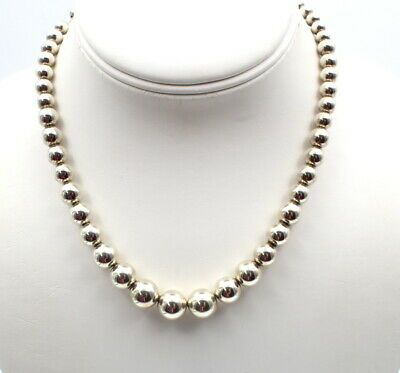 """Tiffany & Co. Sterling Silver Graduating Bead Necklace 5 Mm - 10 Mm, 16"""" 770B-4"""