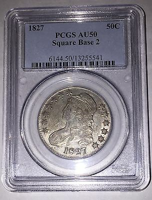 1827 Square Base 2 50c Capped Bust Half Dollar PCGS AU50