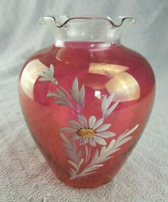 Vintage Antique 5.5 inch Hand-Painted Daisy Flower Cranberry colored Glass Vase