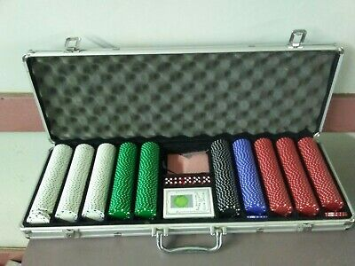 Pro 500PCS Poker Chips Set W/2 Cards +5 Dices+Aluminum Carry Case Table Game