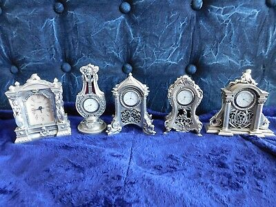"Vintage 80 Argenti Italy silver hand paint lot 5 table desk clock 6"" baroque"