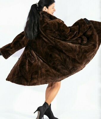 Sheared MINK Fur A-Line style Brown Jacket Coat Stroller Size XL