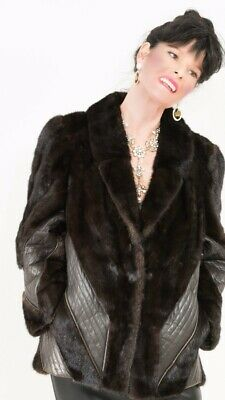 Beautiful Brown Mink Fur Jacket Coat Leather detail Excellent Condtion Sz Medium