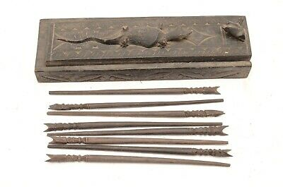 Vintage hand Carved Box with 4 Pairs Chopsticks Wood Bali Java Balinese asian