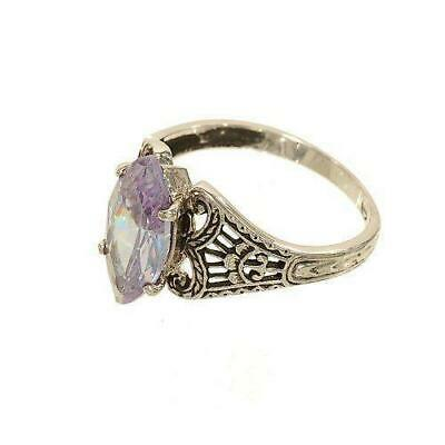 Silver tone Ring Marquis Shape Lavender CZ Single Stone Antique Style Filigree